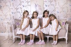 Our little models in Falbala silk dress from Amelie et Sophie!