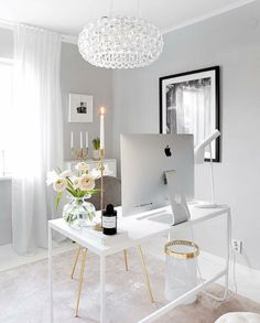 White Home Office Ideas To Make Your Life Easier; home office idea;Home Office Organization Tips; chic home office. office ideas on a budget Modern Office Decor, Home Office Decor, Office Chic, Office Inspo, Office Furniture, Office Setup, Furniture Plans, Kids Furniture, Office Decorations
