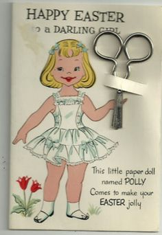 Vtg Easter paper doll greeting card mint (02/26/2011)