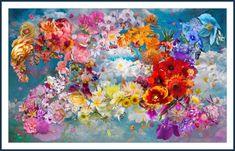 Flower Cloud Blue by mikpic Creative Art, Digital Art, Clouds, Artwork, Flowers, Blue, Painting, Creative Artwork, Work Of Art