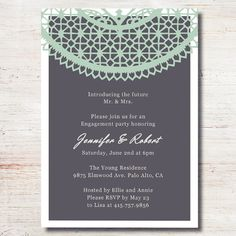 mint green lace printed cheap engagement party invitation cards EWEI009