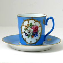 Limoges Demitasse Coffee Cup & Saucer Vintage Porcelain Goumot Labesse, from Catisfaction's Glass Gallery.