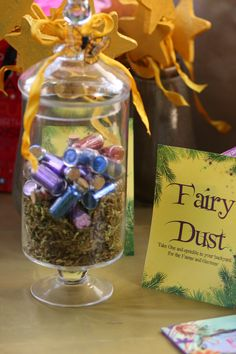 """Ada's 7th Woodland Fairy Birthday in the """"Enchanted Forest.""""  The kids took home fairy dust and every fairy received wings and wands and all the gnomes got hats and canes (thanks to spray paint, sticks and bday party hats)"""