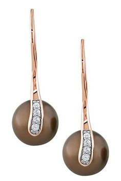10K Rose Gold 9-9.5mm Chocolate Tahitian Pearl & Diamond Drop Earrings by Luxurious Luster: Tahitian Pearls on @HauteLook