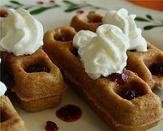 Peanut Butter 'n Jelly Waffles -- use low carb pancake recipe, add PB2, use no sugar added strawberry preserves
