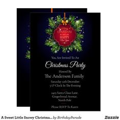 A Sweet Little Snowy Christmas Wreath Party Invitation Christmas Stockings, Christmas Wreaths, Christmas Decorations, Xmas, Christmas Party Invitations, Rudolph The Red, Red Nosed Reindeer, Party Hats, Happy Holidays