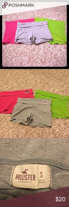 Hollister stretchy shorts Hollister stretchy roll over shorts. Heather grey, hot pink and green (somewhat tie dye). The grey and pink were each worn once and the green have never been worn. All great condition. Price is for all 3 Hollister Shorts