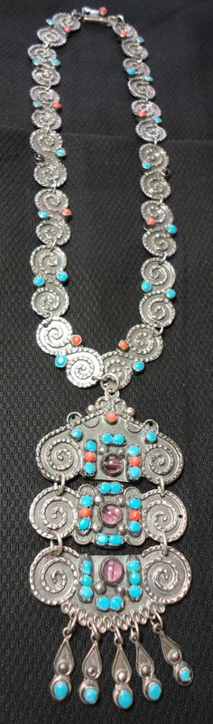 Handmade Taxco Silver Necklace With Inlaid Stones.
