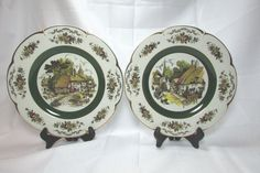 Vintage Pair of WOODS AND SONS ENGLAND ASCOT DECORATIVE SERVICE PLATES  #WoodsSon