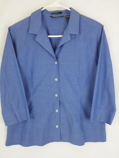 Eddie Bauer Stretch Wrinkle Resistant Blouse Blue Petite Large FREE SHIPPING