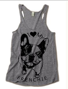Womens FRENCHIE French Bulldog Tri Blend Tank Top Alternative Apparel Gray, Turquoise, Black, Green S M L XL on Etsy, $20.00