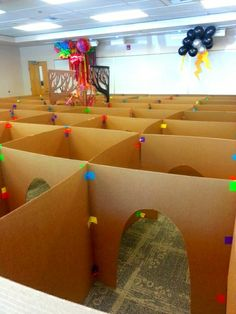 Cardboard box maze. This was used in a library display but idea could also be used at home on a smaller scale.