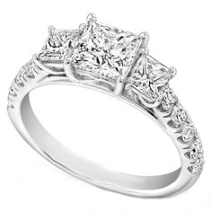 Three Stone Princess Diamond Cathedral Engagement Ring Pave Band  - ES1203PR