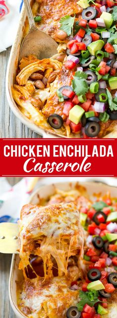 This easy recipe for chicken enchilada casserole is just 5 ingredients, all layered together and baked to perfection. A quick and simple meal that the whole family will love! #mexicanfoodrecipes