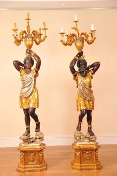 Pair 7 ft Italian Blackamoor candleabras torcheres candles for sale