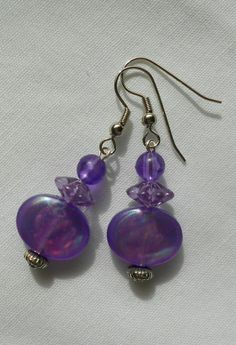 Handmade Earrings Orchid Purple Oval Disc Beads with Purple Top Beads  #Handmade #DropDangle  2014   Sold