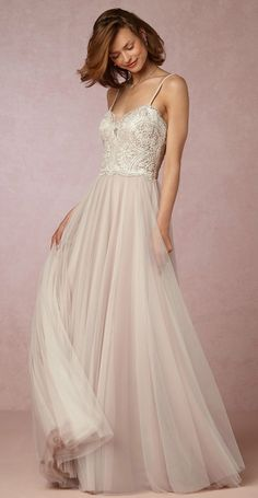 Lace and tulle wedding dress   Nina gown   BHLDN wedding dresses
