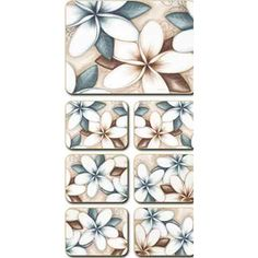 Lisa Pollock Ocean Frangipani placemats and coasters, set of 6 David Jones, Coasters, Lisa, Fun, Ocean, Beauty, Design, Drink Coasters, Sea