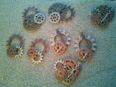 Several sets of Gearrings in the works. Custom orders accepted. Made by Steampunk Amore