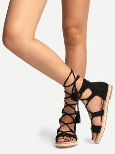 3441665d450 Shop Black Peep Toe Tassel Lace-up Sandals online. SHEIN offers Black Peep  Toe Tassel Lace-up Sandals   more to fit your fashionable needs.