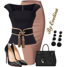 Featuring Doublju, Roland Mouret, Balmain, Yves Saint Laurent, Christian Louboutin and Kenneth Jay Lane Business Outfits, Office Outfits, Classy Outfits, Stylish Outfits, Pretty Outfits, Modelos Fashion, Looks Chic, Professional Outfits, Complete Outfits
