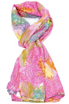 Before you juggle your warm weather wardrobe try diversifying your present pieces with summer scarves.  Size: 69'' x 41''  Babylon Pink Scarf by Violet Del Mar. Accessories - Scarves & Wraps San Diego California