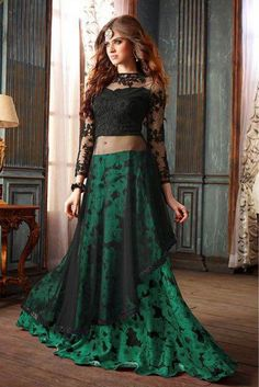 This Exclusive Lehenga Suit Is An Ultimate Party Wear Collection With The Mesmerizing Colours Of Black,Green With The Artistic Thread Work , Leave No Stone Unturned And Be At Your Fashionable Best. Ne...