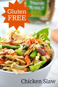 Gluten Free Chicken Slaw Recipe | PartyBluPrints.com Great #recipe! And you can always add your favorite dressing. Find more healthy ideas @harmonicsynergetis