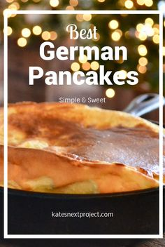 This recipe for German Pancakes is so easy! And you will swoon over the amazing buttery taste. Served in a cast iron skillet, this beauty will impress friends and family. My favorite Christmas morning tradition! Sweet Crepes Recipe, German Pancakes Recipe, Sweet Breakfast, Breakfast For Dinner, Breakfast Pancakes, Breakfast Time, Breakfast Casserole, Brunch Recipes, Baby Food Recipes