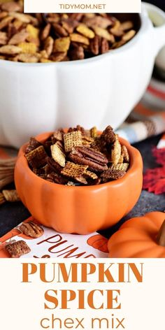 Pumpkin Spice Chex Mix has a little sweetness and spice with lots of crunch. Loaded with sweet and spicy coated cereal and pecans for party or game-day snacking. It's the snack mix that I want to make on repeat all season long. PRINTABLE RECIPE at TidyMom.net Snack Mix Recipes, Recipes Appetizers And Snacks, Best Dessert Recipes, Fall Recipes, Snack Mixes, Desserts, Chex Mix, Vegan Kitchen, Kitchen Recipes