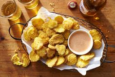 Fried Pickle Chips - The Only Recipes You'll Need for Your Super Bowl Party - Southernliving. Recipe: Fried Pickle Chips  The sauce is a riff off of the popular Comeback sauce, and it will make you come back for more and more! The chips are perfect as is but the sauce takes it over the top.