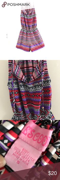 Abstract Aztec Romper ✨ Cute Romper. Very light in weight. Stands out. Cute colors for spring or summer. No tears or rips. Worn twice. In great condition fits well in all areas. Size small Rue 21 Pants Jumpsuits & Rompers