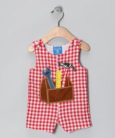 Look what I found on #zulily! Red Gingham Tool Shortalls - Infant by Mud Pie #zulilyfinds