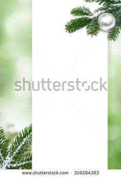 Green bokeh background with white space and decorating pine twigs and silver Christmas ball - stock photo