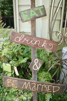 Eat Drink and Be Married Wedding Sign by TheGrammerGirls on Etsy, $30.00