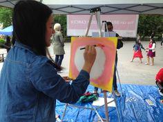 Artist begins her painting