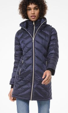 Navy Quilted Nylon Packable Down Puffer Coat Michael Kors.  This packable design is crafted with a chevron-quilted navy nylon shell and features a built-in wind guard and a sleek hood.  #Fashion #LookBook #OutfitOfTheDay #LookOfTheDay  #Fashionable #FashionStyle  #FashionAddict #FashionLover #Fashionista #FashionStylist