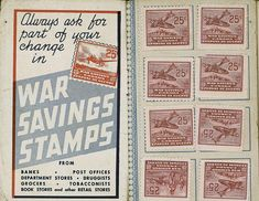 War Savings Stamps ♦ Toronto, Ontario, Canada, 1940s