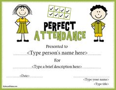 Free Printable Perfect Attendance Certificate Template  D Perry