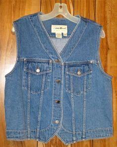Woman's Eddie Bauer Blue 100% Cotton Denim JEAN Vest Size Medium #EddieBauer Now $19.87