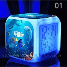 The Friendly But Forgetful Blue Tang Fish FINDING DORY 7 Colors Change Digital Alarm LED Clock Cartoon Night Colorful Toys for Kids (Style 1)