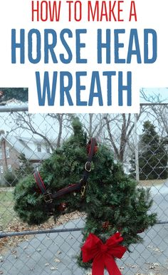 Horse Head Shaped Greenery Wreath - Instructions to Make your Own - Hawk Hill Christmas Horses, Cowboy Christmas, Rustic Christmas, Frame Wreath, Diy Wreath, Wreath Ideas, Wreath Making, Deco Mesh Wreaths, Holiday Wreaths