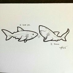 whose art is this? It& such an adorable doodle whose art is this? Its such an adorable doodle Cute Shark, Baby Shark, Cute Drawings, Animal Drawings, Shark Drawing, Shark Bait, Shark Shark, Shark Tattoos, In The Zoo