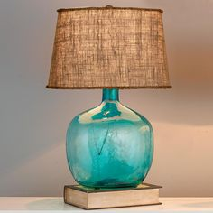 Demijohn Table Lamp - 8 Colors!  Not so sure about the shade, but that aqua glass is to-die-for!! W.A.N.T. From Shades of Light dot com