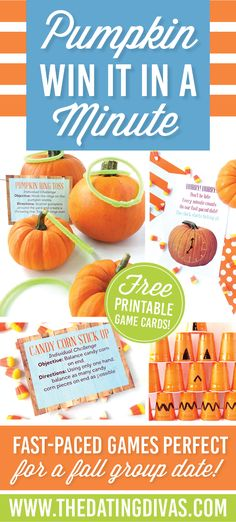 to Win It Pumpkin Games - From Fun and easy to prep win it in a minute games for fall parties! Fun and easy to prep win it in a minute games for fall parties! Halloween Party Games, Theme Halloween, Halloween Activities, Diy Halloween, Halloween Inspo, Halloween Birthday, 5th Birthday, Birthday Parties, Fall Festival Games
