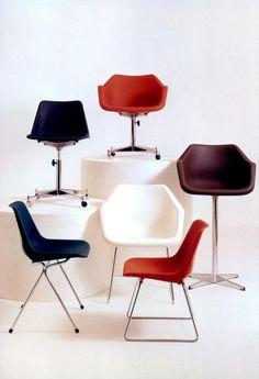 Polypropylene Chair Mark II (1964) and Polypropylene Armchair (1967). Robin and Lucienne Day foundation.