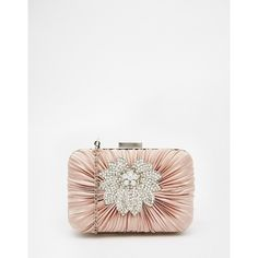 Vintage Styler Box Clutch with Floral Broach Detail in Nude ($76) ❤ liked on Polyvore featuring bags, handbags, clutches, nude, vintage purse, white box clutch, box clutch, chain handbags and vintage floral purse