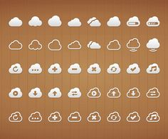 Cloud PSD Icon Set #flaticons #iconsets #freeicons #infographics