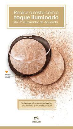 Quer dar aquele toque iluminado no rosto, que é tendência de moda? Então experimente um dos produtos mais vendidos da Maquiagem Natura: o Pó Iluminador Marmorizado de Natura Aquarela. Ele tem textura fina e toque dourado, e serve para todos os tons de pele.