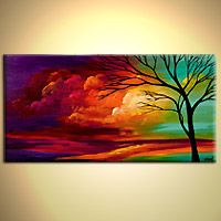 Original abstract art paintings by Osnat - abstract landscape colorful sunset painting inspiration. Love the rainbow effect. Pintura Graffiti, Pics Art, Tree Art, Painting & Drawing, Long Painting, Amazing Art, Awesome, Original Paintings, Art Paintings